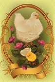 Retro Easter card with white hen, fluffy yellow chick, two eggs  and pink flowers. Vector illustration organized by layers, easy to edit. No transparency. Files include: Illustrator CS5, Illustrator 10.0 eps, pdf 1.5, SVG 1.1, JPEG 2400*3600