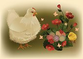 Easter card with white hen, fluffy yellow chicken, red flowers and painted eggs. Vector illustration organized by layers, easy to edit. No transparency. Files include: Illustrator CS5, Illustrator 10.0 eps, pdf 1.5, SVG 1.1, JPEG 3000*2150