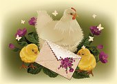 Easter card with white hen, fluffy yellow chicken, purple flowers and holiday letter. Vector illustration organized by layers, easy to edit. No transparency. Files include: Illustrator CS5, Illustrator 10.0 eps, pdf 1.5, SVG 1.1, JPEG 3000*2150