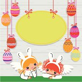 Angels in Costumes of Easter Rabbits.