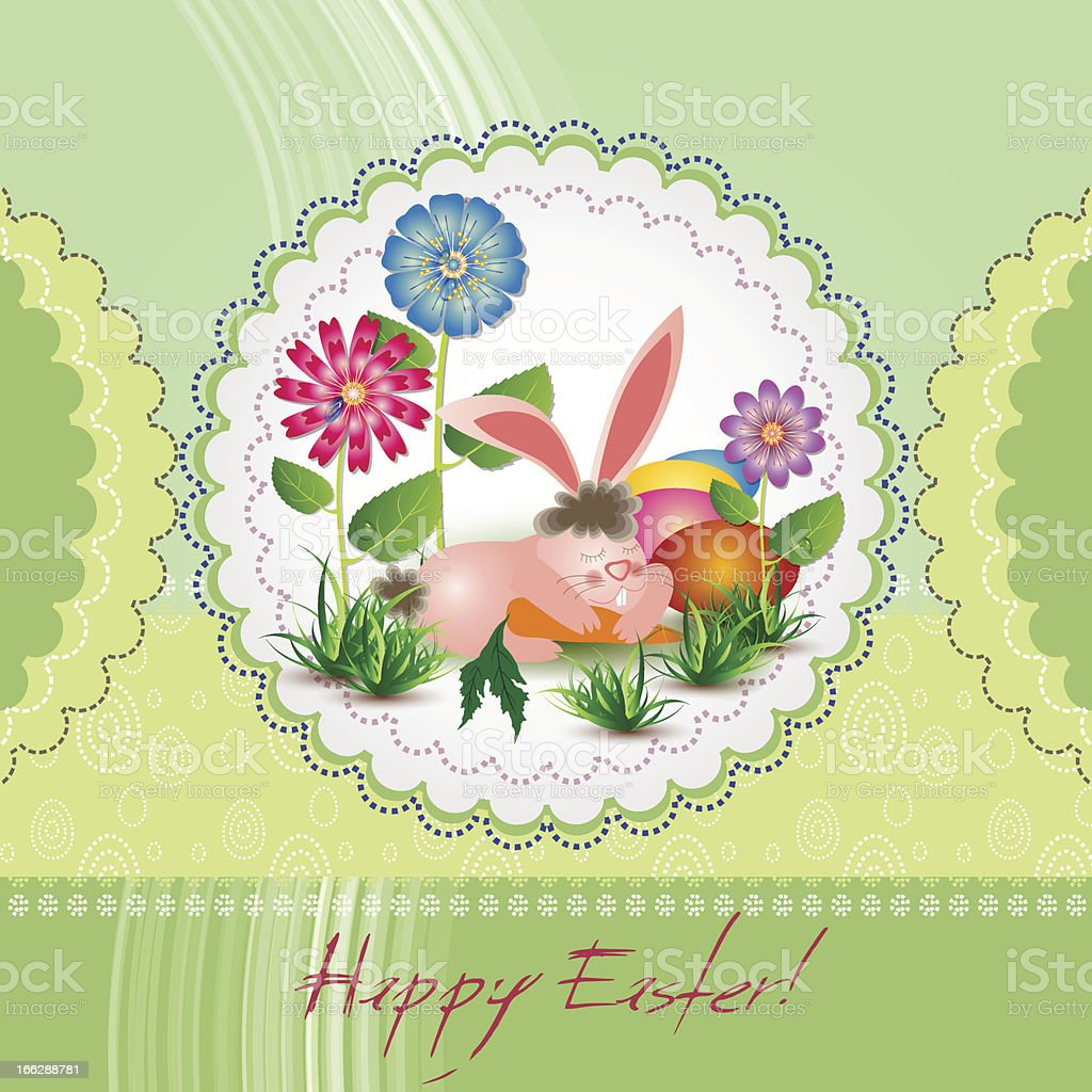 Easter card with bunny and flowwers royalty-free stock vector art
