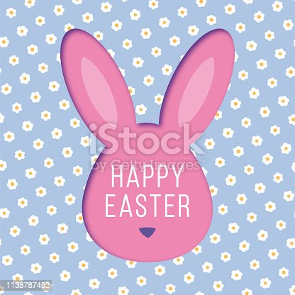 istock Easter card with bunny rabbit frame. 1138787452