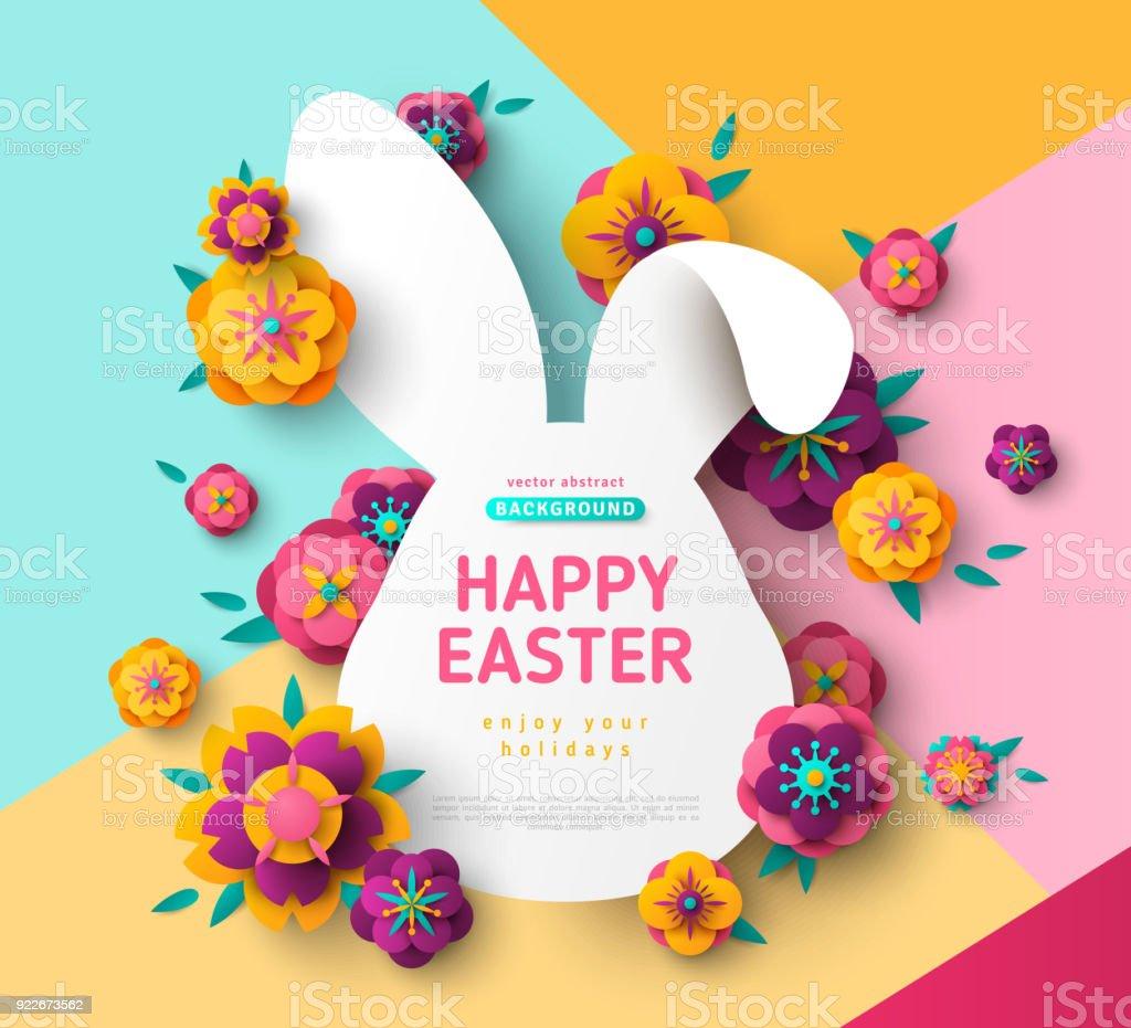 Carte de Pâques avec cadre de lapin bunny - Illustration vectorielle