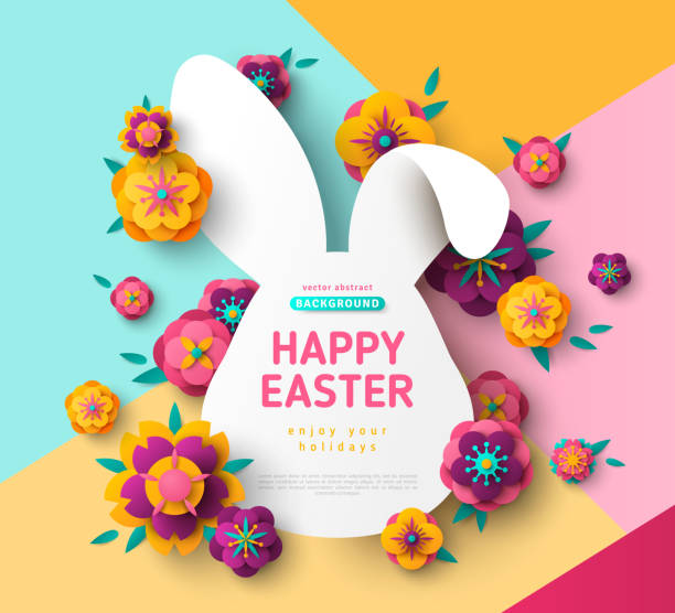 Easter card with bunny rabbit frame vector art illustration