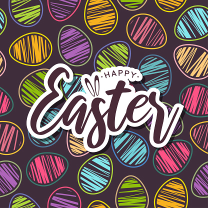 Easter card with colorful seamless pattern eggs. Vector