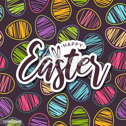 istock Easter card with colorful seamless pattern eggs. Vector 1216204599