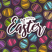 Easter card with colorful seamless pattern eggs. Vector illustration. EPS10