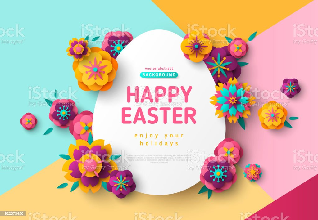 Easter card with egg frame vector art illustration