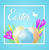 Easter card with eggs and violet crocuses in white frame on a blue background. EPS 10 file, contains transparencies.