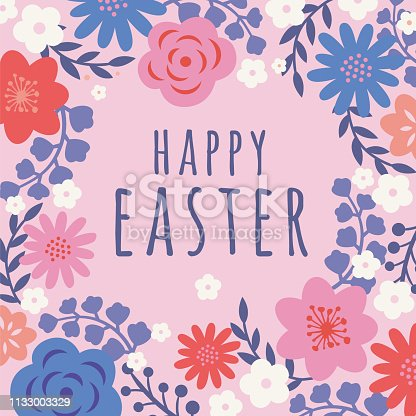 istock Easter card with flowers frame. 1133003329