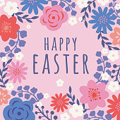 Easter card with flowers frame. - Illustration