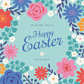 istock Easter card with flowers frame. 1306461189