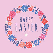 Easter card with flowers wreath. - Illustration