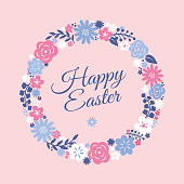 Easter card with flowers wreath. Stock illustration