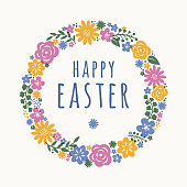 Easter card with flowers wreath - Illustration