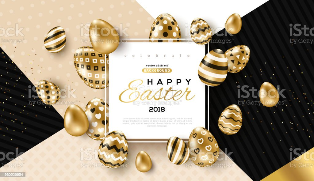 Easter card with frame and gold ornate eggs vector art illustration
