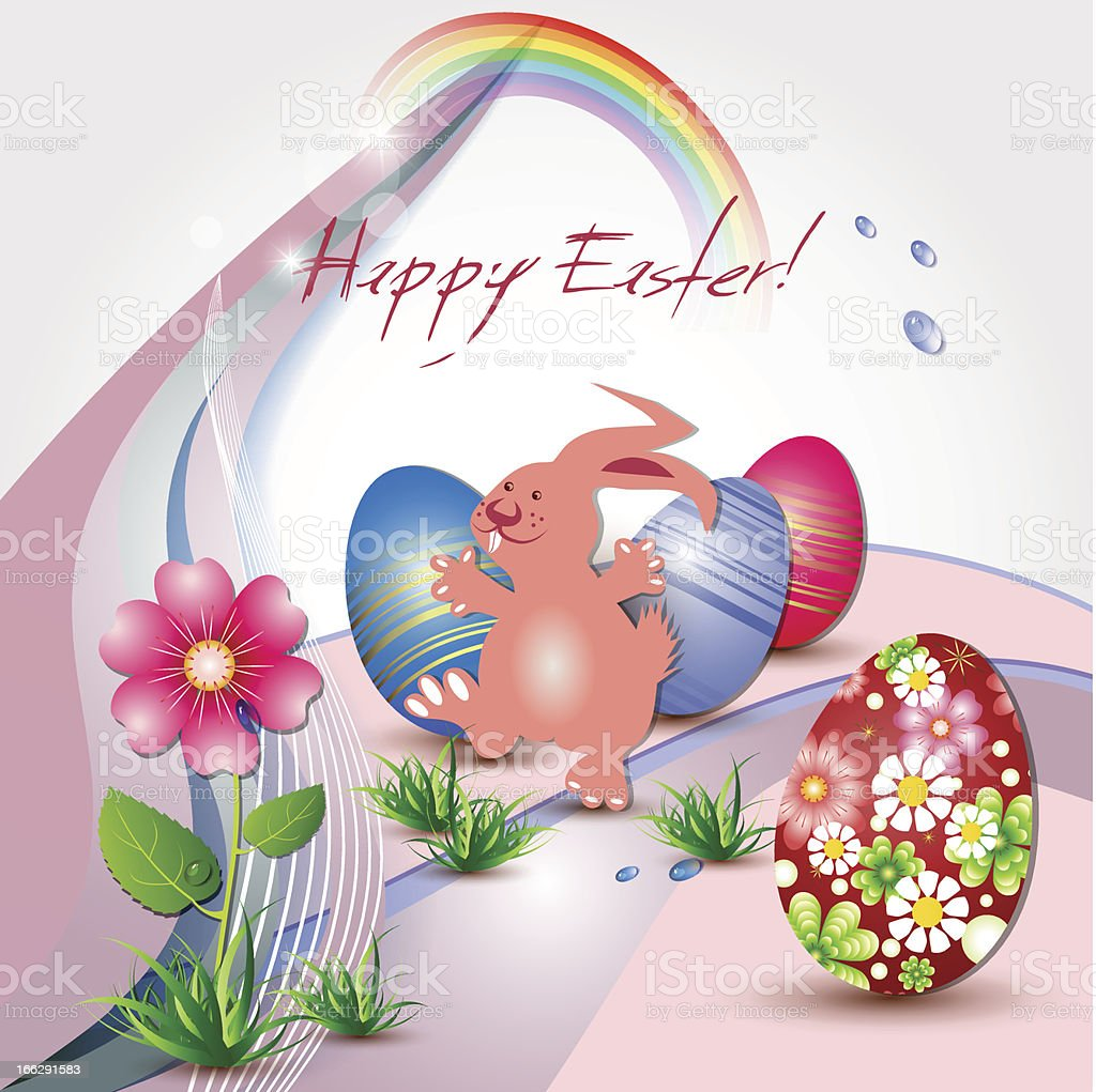 Easter card with happy rabbit royalty-free stock vector art