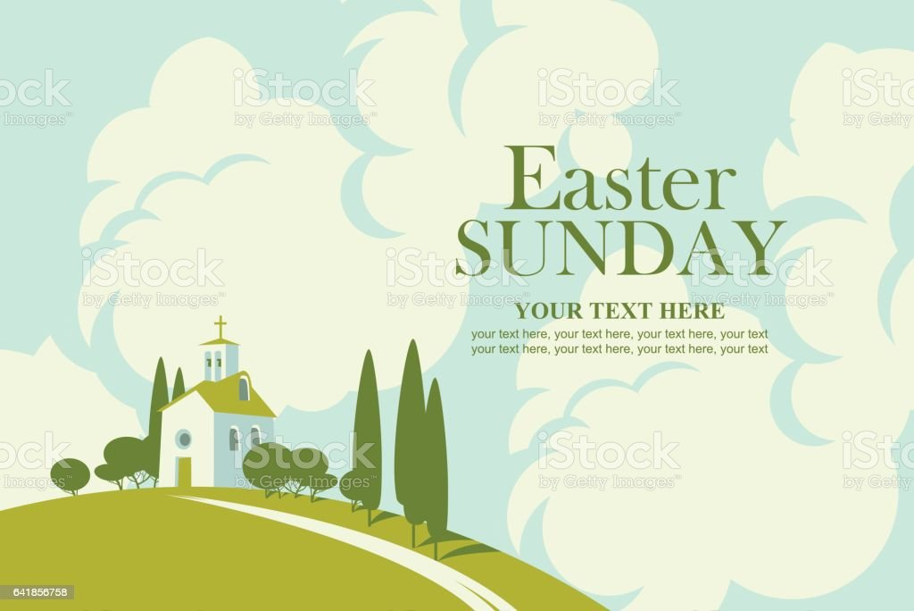 Easter card with landscape with church