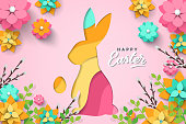 Easter card with paper cut bunny shape, egg shape, spring flowers on pink background. Vector illustration