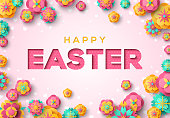 Easter card with paper cut typography and spring flowers on pink background. Vector illustration. Place for your text.