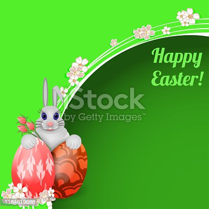 Easter card with rabbit and colored Easter eggs. Vector illustration.