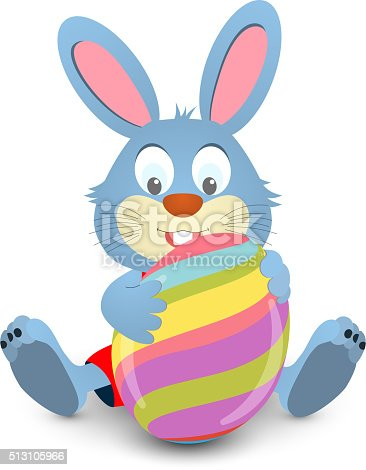 Easter bunny holding a big egg. Vector illustration. Easter card with rabbit and eggs.