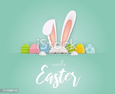 istock Easter card with rabbit and eggs. Vector 1210089743