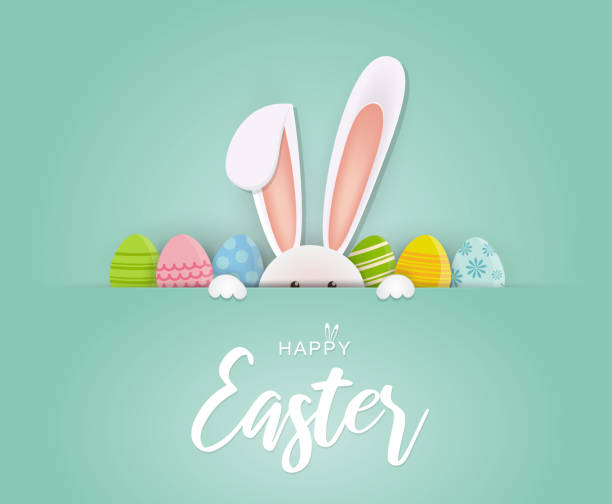 illustrazioni stock, clip art, cartoni animati e icone di tendenza di easter card with rabbit and eggs. vector - pasqua