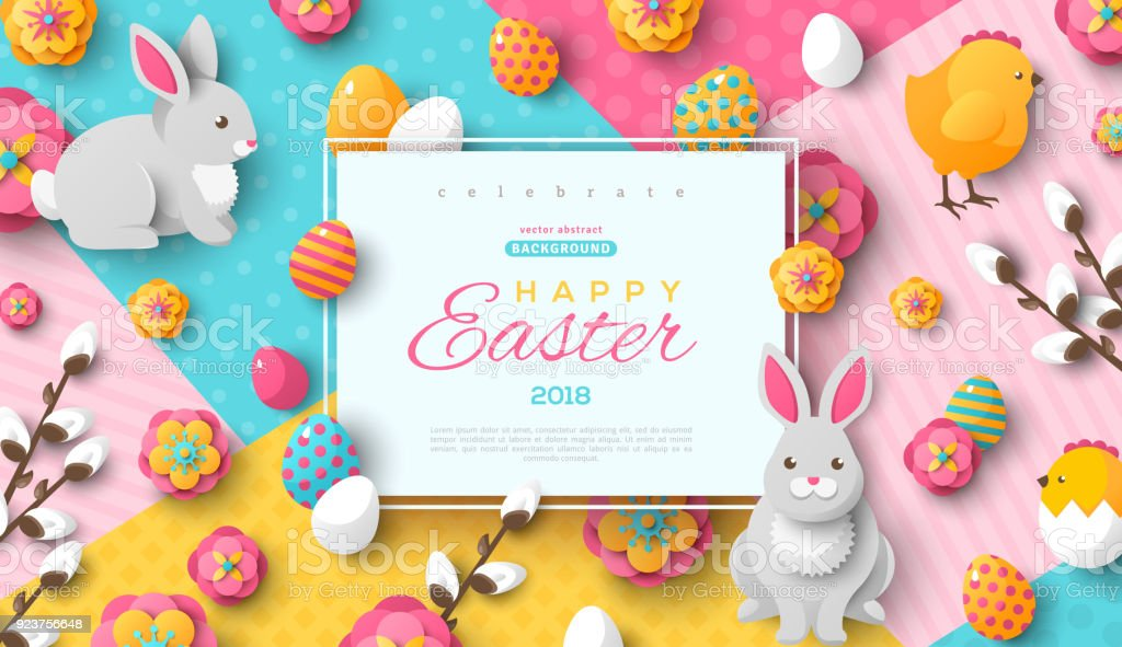Easter card with square frame vector art illustration