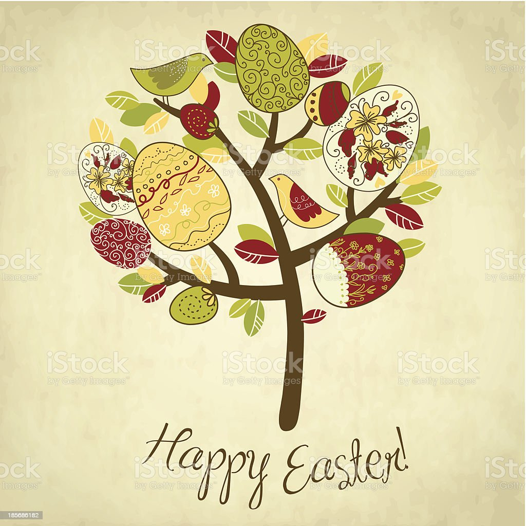 Easter Card with tree, eggs and birds royalty-free easter card with tree eggs and birds stock vector art & more images of animal markings