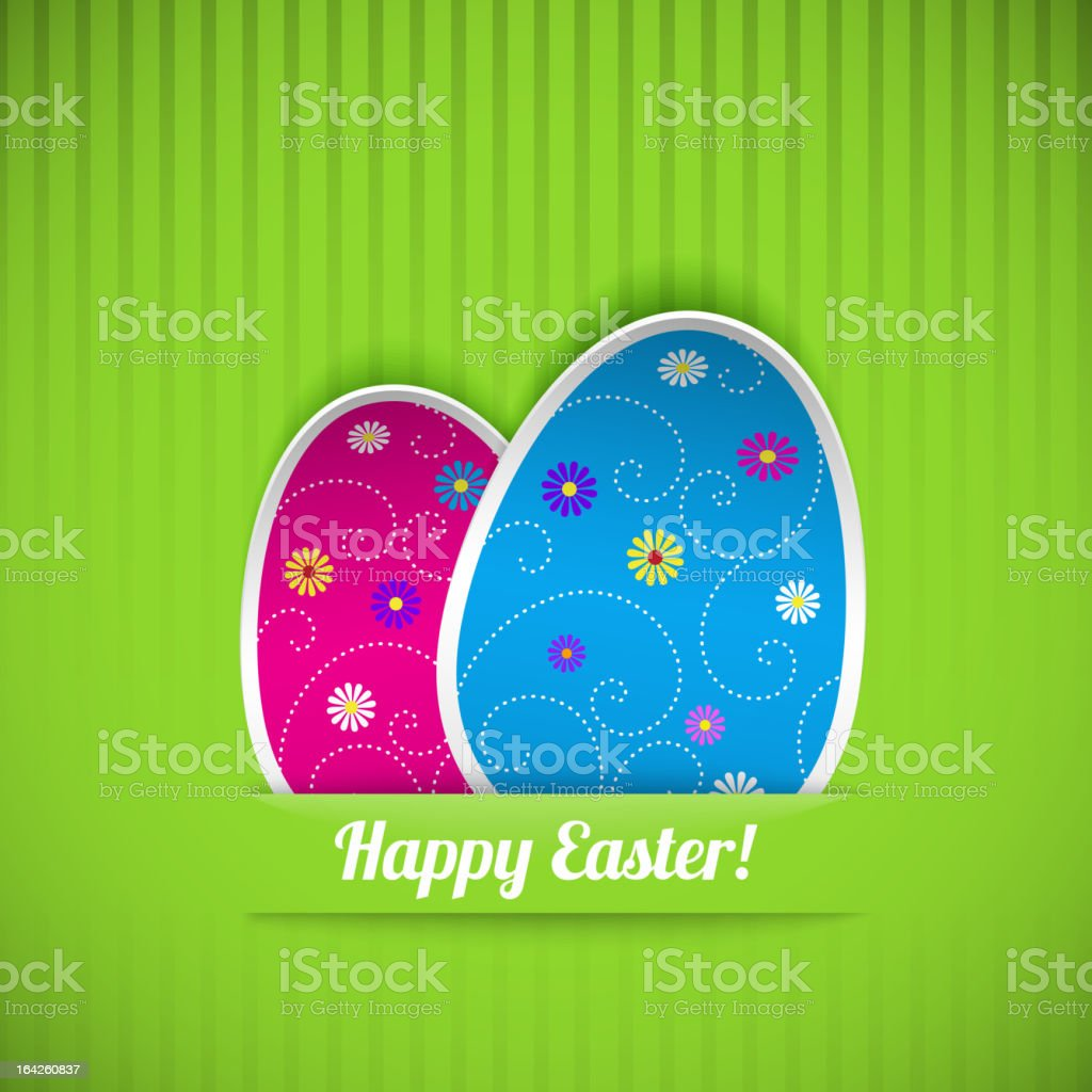 Easter card with two eggs royalty-free stock vector art
