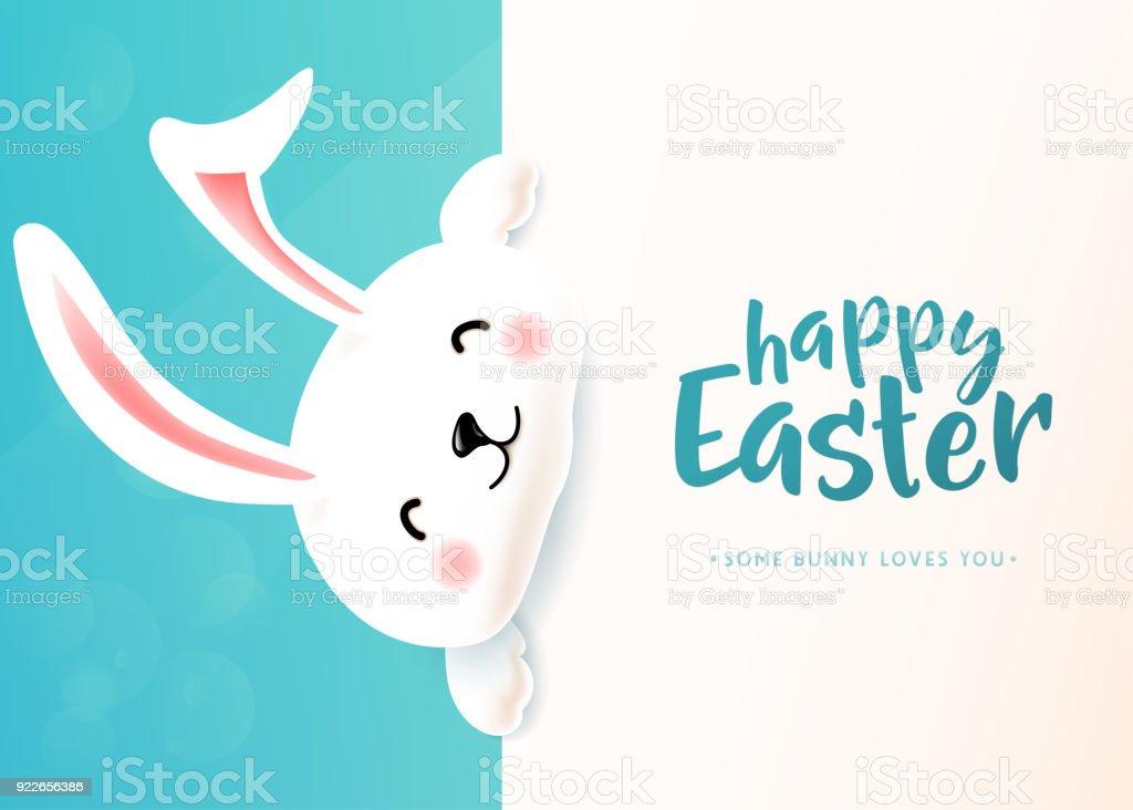 Carte de Pâques avec blanc mignon lapin souriant drôle. Lapin de Pâques qui souhaitent printemps - Illustration vectorielle