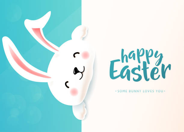 Easter card with white cute funny smiling rabbit. Easter bunny wishing spring vector art illustration