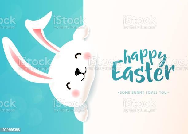 Osterkarte Mit Weißen Süß Lustig Lächelndes Kaninchen Osterhase Frühling Wünschen Stock Vektor Art und mehr Bilder von Abstrakt