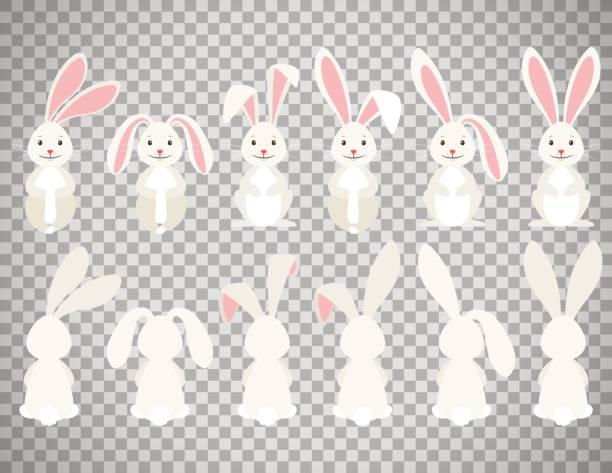 osterhase-cartoon auf transparenten hintergrund - kaninchen stock-grafiken, -clipart, -cartoons und -symbole