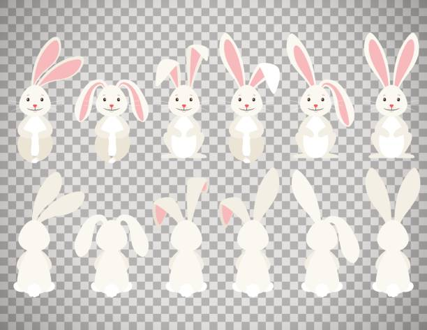 easter cartoon bunny on transparent background - rabbit stock illustrations