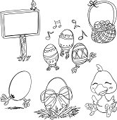 Easter cartoon icons in sketch style, black and white