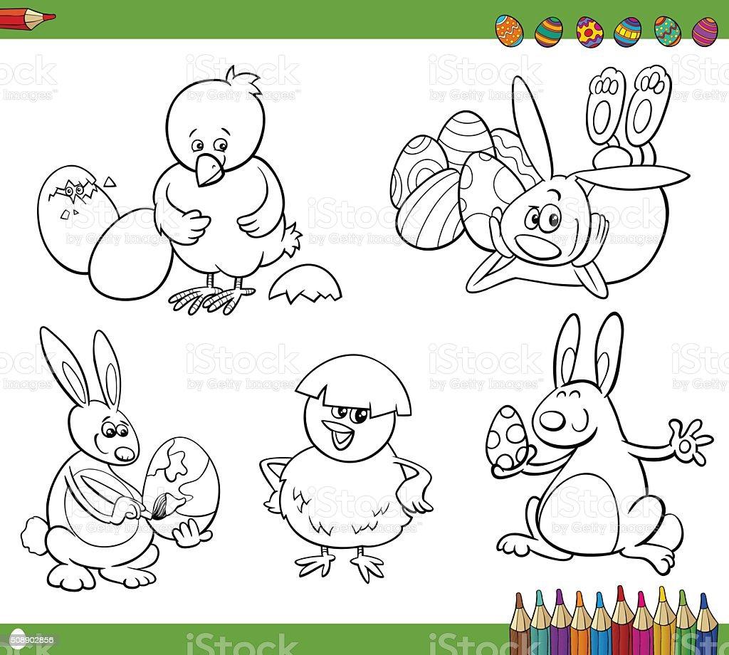 Dibujos Animados De Pascua Libro Para Colorear - Arte vectorial de ...
