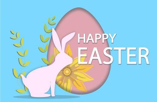 Easter celebrate banner with easter egg and  holiday wishes of a Happy Easter on blue background.