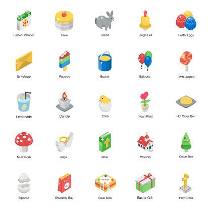 Easter Celebration Isometric Icons Pack