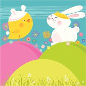 Cute Easter Chick wearing bunny hat and Easter Bunny wearing chicken hat. Vector.