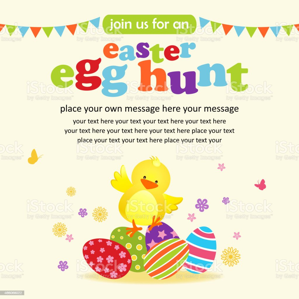 Easter Chick and Eggs Party Notice vector art illustration