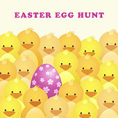 Enjoy the egg hunt game with chicks and eggs on the date of Easter party