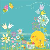 Cute Chick and basket Easter eggs on floral background with butterflies. Spring time. Vector.