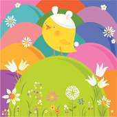 Cute Chicks wearing bunny hat on Easter eggs. Vector.