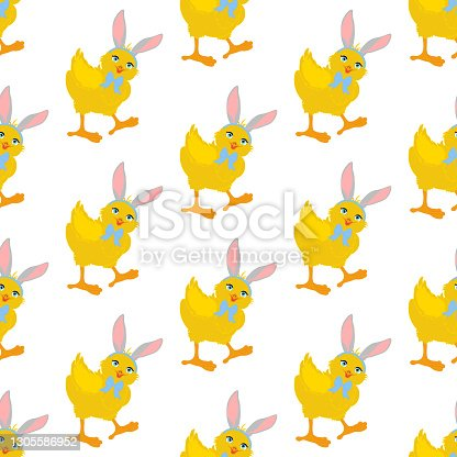 istock Easter chick wearing bunny ears seamless pattern 1305586952