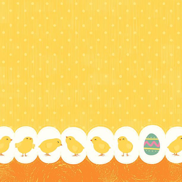 Easter chicks bakground vector art illustration