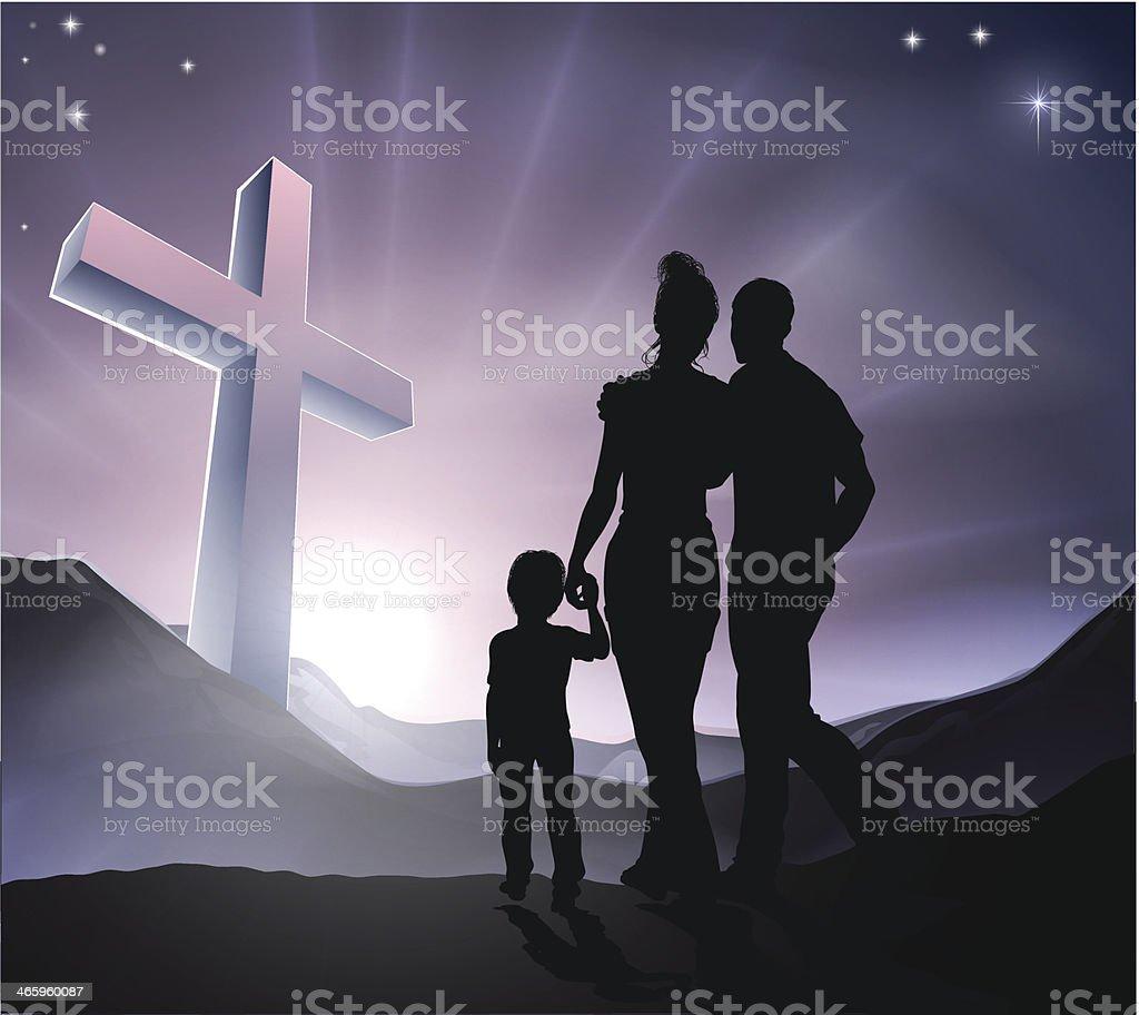 Easter Christian Cross Family royalty-free stock vector art