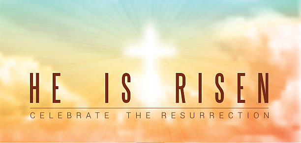 easter christian motive, resurrection easter christian motive,with text He is risen, vector illustration, eps 10 with transparency and gradient mesh church stock illustrations