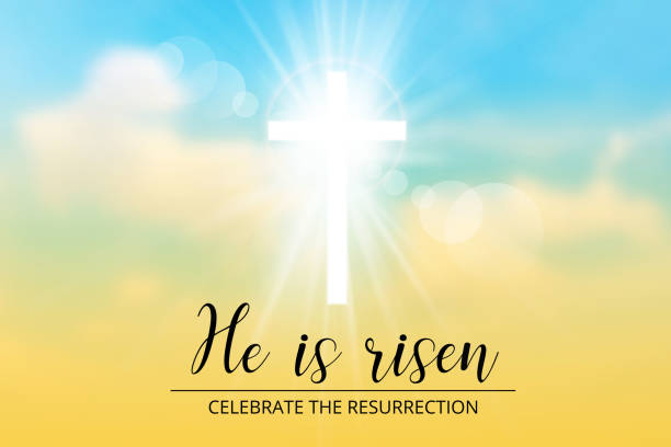 easter christian motive,with text He is risen easter christian motive,with text He is risen, vector illustration, eps 10 nu stock illustrations